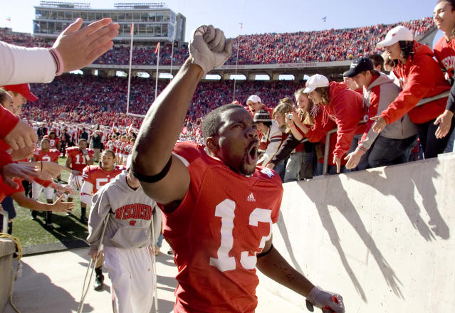 Wisconsin's Marcus Randle El celebrates on his way off the field after Wisconsin beat Indiana 33-3 in a college football game Saturday, Oct. 27, 2007, in Madison, Wis. (AP Photo/Andy Manis)