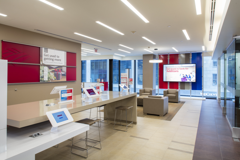 Interior of a Bank of America branch lobby.