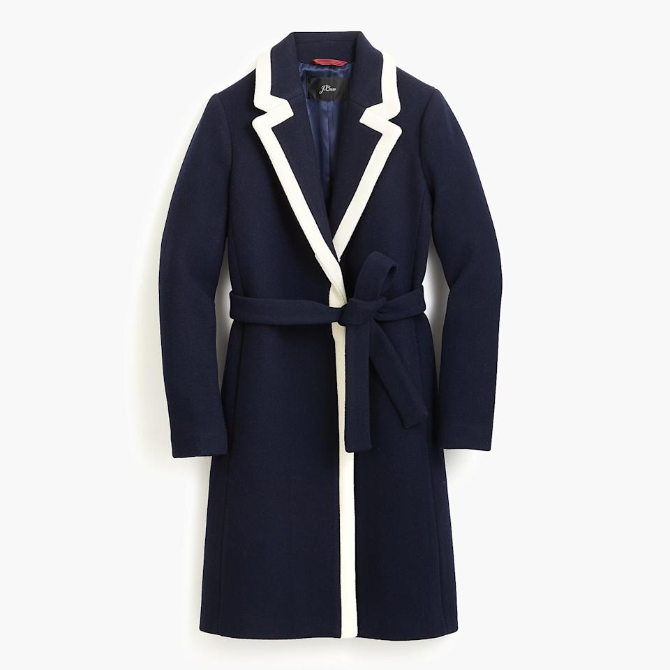 "<p>Tipped Topcoat in Italian Stadium-Cloth Wool, $298, <a rel=""nofollow"" href=""https://www.jcrew.com/p/K0708"">jcrew.com</a> </p>"