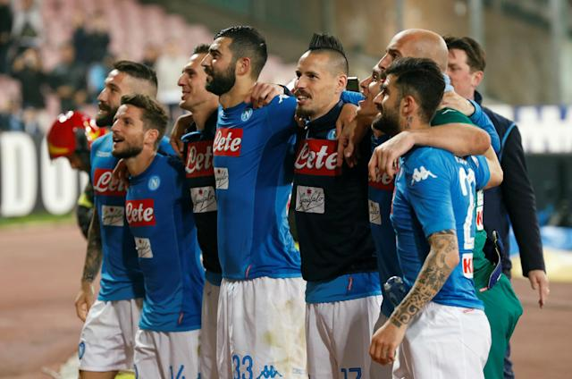 Soccer Football - Serie A - Napoli vs Udinese Calcio - Stadio San Paolo, Naples, Italy - April 18, 2018 Napoli's Marek Hamsik and team mates celebrate after the match REUTERS/Ciro De Luca