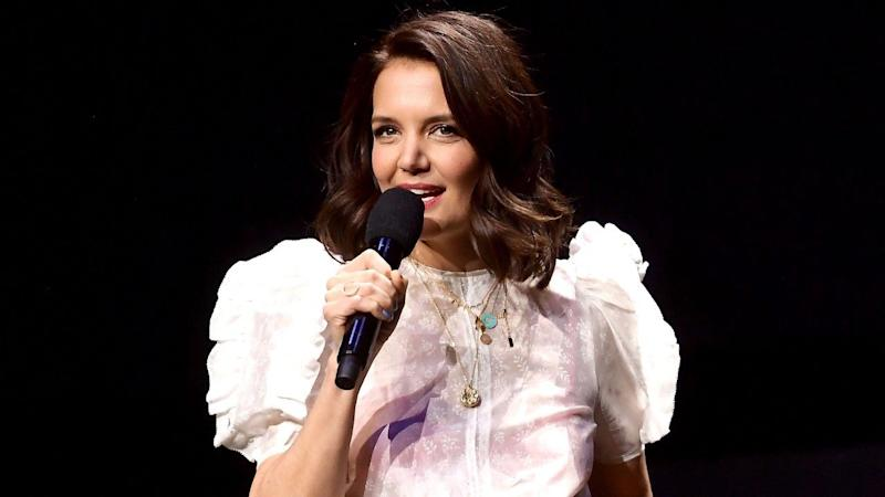 b3e9426bb2 Katie Holmes Wows in See-Through Blouse and Colorful Bra at CinemaCon 2019