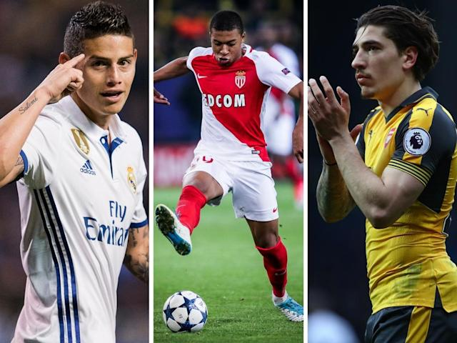 Mbappe and Bellerin (left and right) are 'too expensive but Rodriguez could be within Manchester United's price range