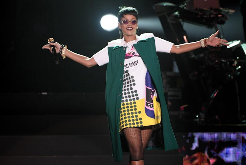 Rihanna performs on Sunday, Sept. 22, 2013, on the sidelines of the Formula One Singapore Grand Prix race weekend in Singapore.(AP Photo/Joseph Nair)