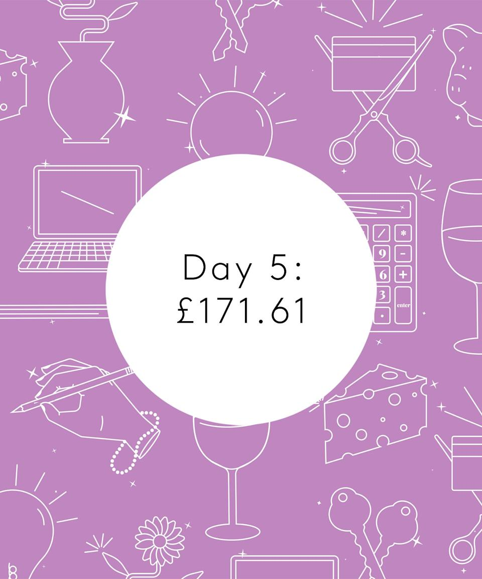 <strong>Day Five</strong><br><br>7.15am: Wake up naturally because why set an alarm to wake up early on a Saturday when your body can wake you up even earlier!<br><br>8.15am: Ready, usual breakfast eaten and out the house to go and get my hair done. Walk into the city centre which takes about 30 minutes.<br><br>9am: Getting a coffee to bring to the salon is my ritual, a venti iced Americano with oat milk. €3.85/£3.29<br><br>11.30am: Hair all done. I got a half head of highlights, toner and a blow-dry. €144.50/£123.46 – being blonde is expensive business.<br><br>11.45am: Collect some bedsheets I ordered online but paid for previously and walk out of the city.<br><br>12.15pm: Meet E for lunch in one of our favourite sandwich spots. We get a sandwich and a coffee each, I pay €26.40/£22.56. Generally we take it in turns to pay for stuff but at the minute I earn more than E so I always try and pay a little more to make it more equitable. <br><br>1.30pm: Go and collect my prescription from the chemist. It's more expensive than usual as I get extra antihistamine to deal with all the pollen about. Prescription covered in monthly amounts above. I also get a bottle of water as I drank mine and there's nowhere to fill it up. €1.10/£0.94<br><br>2pm: E is really involved with a football team in Dublin and today we're going to watch their ladies team play. We hang out at the match and they win 7-2, wooo!<br><br>4pm: The heatwave lives on and we head to the pub to enjoy the sunshine with some of E's friends. We do rounds and I spend €25/£21.36 on my round. We also split a burger and potato wedges, which E pays for.<br><br>9.30pm: We walk to my house to get my stuff and head to E's to stay there. It's about 40 minutes of walking but neither of us minds as it's a lovely evening. <br><br>11.30pm: I'm exhausted after getting up early this morning and being in the sun so we head to bed.<br><br><strong>Total: €200.85/£171.61</strong>