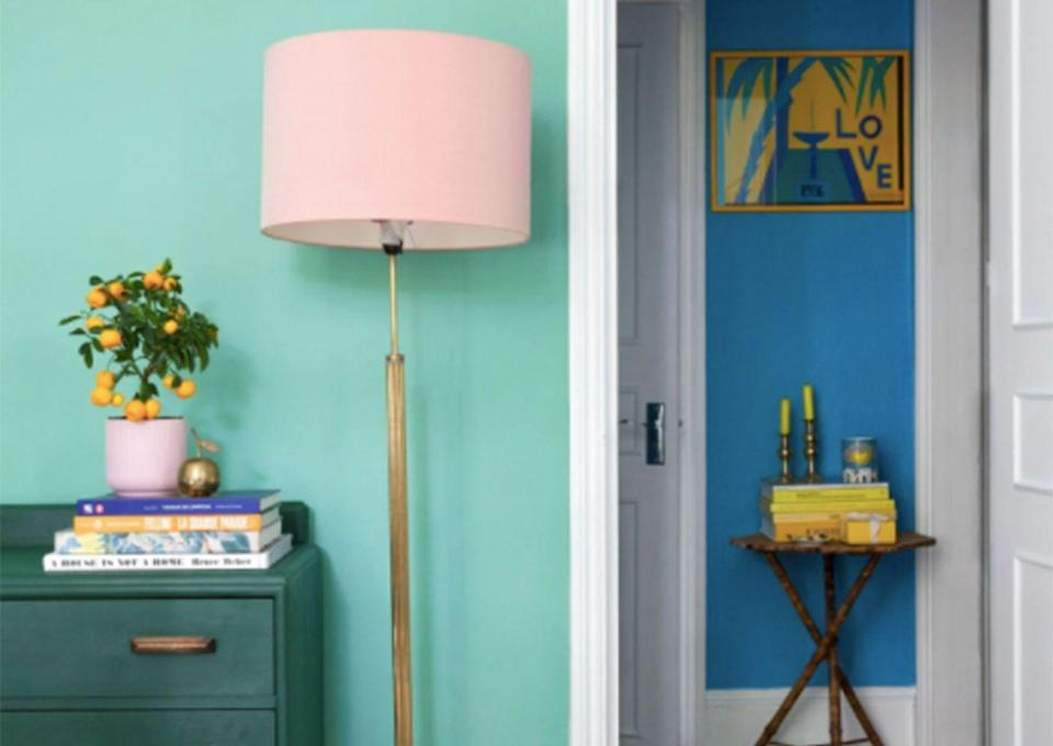 """<p>Some shades of green really come alive when they are paired with contrasting colours. Here, the green bedroom wall is all the more vibrant against the deeper blue and allows the pink accessories to stand out for a vibrant space. </p><p><strong>Green paint in """"Arsenic"""" by Farrow and Ball from <a href=""""https://go.redirectingat.com?id=127X1599956&url=https%3A%2F%2Fwww.farrow-ball.com%2Fen-gb%2Fpaint-colours%2Farsenic&sref=https%3A%2F%2Fwww.goodhousekeeping.com%2Fuk%2Fhouse-and-home%2Fhome-decorating-ideas%2Fg36449164%2Fgreen-bedroom-ideas%2F"""" rel=""""nofollow noopener"""" target=""""_blank"""" data-ylk=""""slk:£49.50 for 2.5l"""" class=""""link rapid-noclick-resp"""">£49.50 for 2.5l</a></strong></p><p><strong>Blue paint in """"St Giles"""" by Farrow and Ball from <a href=""""https://go.redirectingat.com?id=127X1599956&url=https%3A%2F%2Fwww.farrow-ball.com%2Fen-gb%2Fpaint-colours%2Fst-giles-blue&sref=https%3A%2F%2Fwww.goodhousekeeping.com%2Fuk%2Fhouse-and-home%2Fhome-decorating-ideas%2Fg36449164%2Fgreen-bedroom-ideas%2F"""" rel=""""nofollow noopener"""" target=""""_blank"""" data-ylk=""""slk:£49.50 for 2.5l"""" class=""""link rapid-noclick-resp"""">£49.50 for 2.5l</a></strong></p>"""