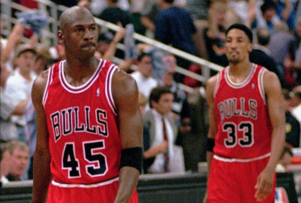 Michael Jordan ditched the No. 45 and when on to tally three more rings. (AP Photo/Robert Baker)
