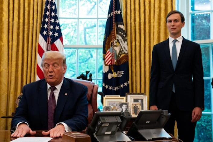 Advisor Jared Kushner (R) looks on as U.S. President Donald Trump speaks in the Oval Office to announce that Bahrain will establish diplomatic relations with Israel, at the White House in Washington, DC on September 11, 2020. (Photo by Anna Moneymaker-Pool/Getty Images)