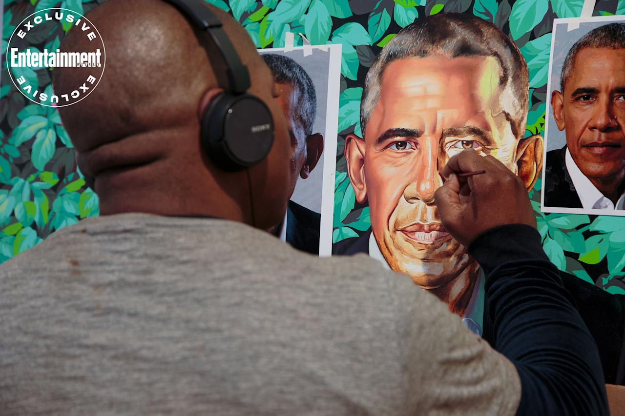 Artist Kehinde Wiley works on the portrait of President Obama, late 2017.