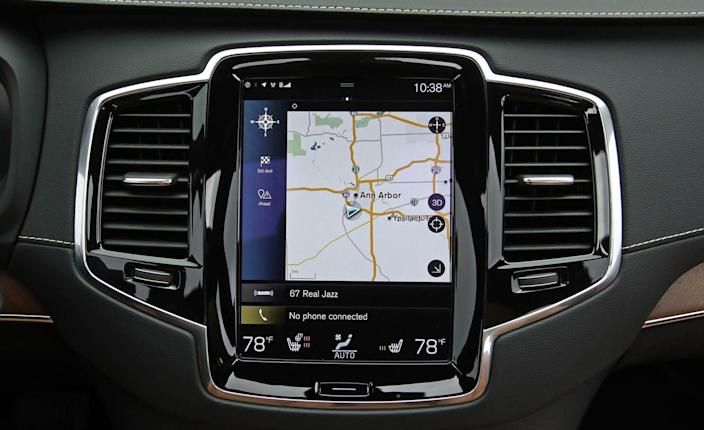 <p>For 2019, Volvo has updated the software on its slick-looking, vertically oriented infotainment display (a visually identical 2018 display is pictured). The touchscreen segments major menus into horizontal tiles; touch one, and it expands to show a fuller menu, while keeping the other menu tiles visible above and below. Swiping left and right on the main menus brings up relevant sub-menus with more detailed selections. </p>