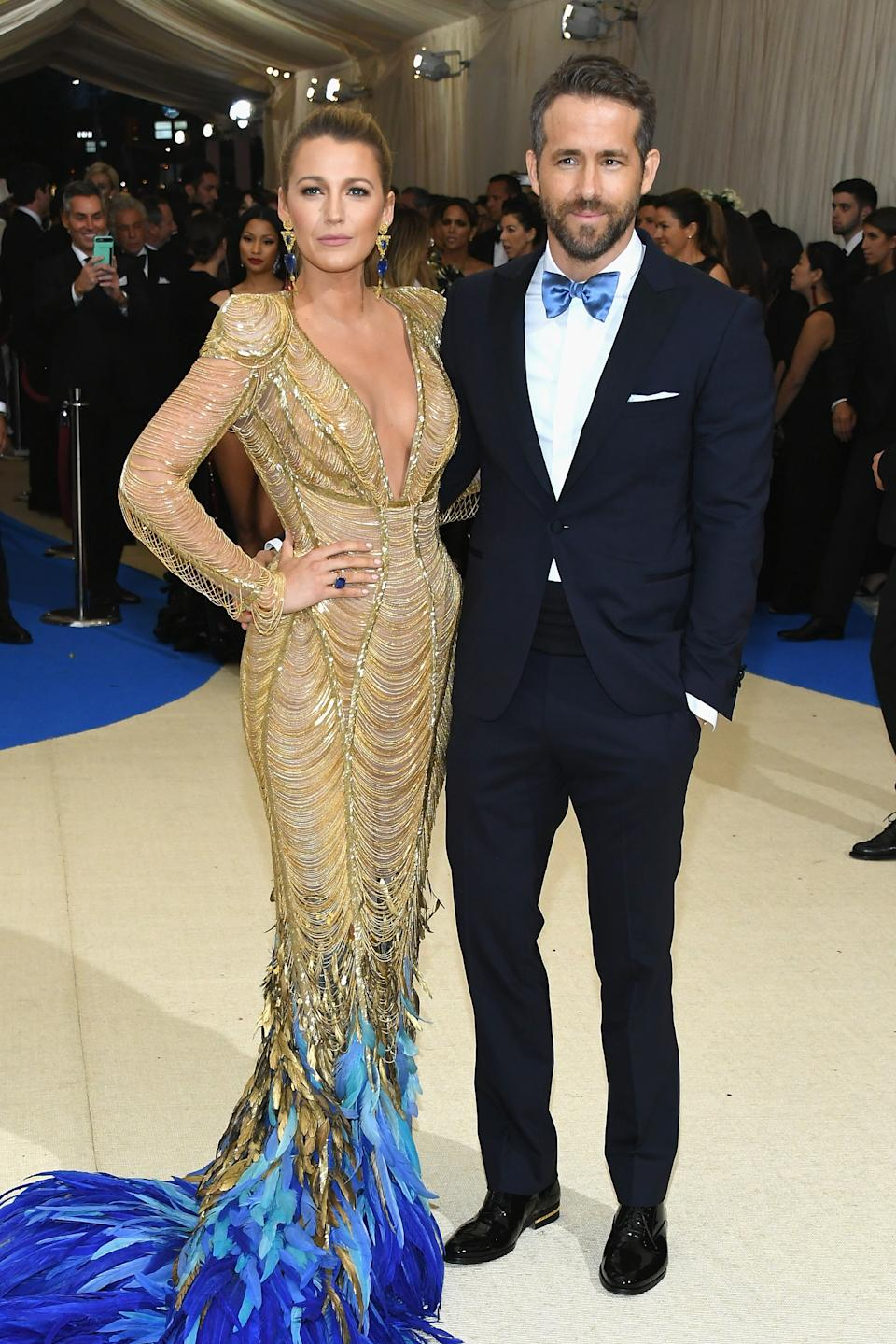 Lively even matched her husband's tie. (Getty Images)