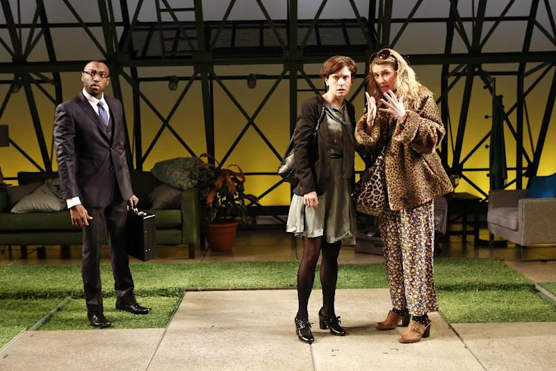 """This theater image released by The Bruce Cohen Group Ltd. show, from left, Maurice McRae, Hannah Cabell and Nadia Bowers, in a scene from """"Collapse"""", currently performing off-Broadway at Women's Project Theater, New York City Center Stage II in New York.  (AP Photo/Bruce Cohen Group Ltd, Carol Rosegg)"""