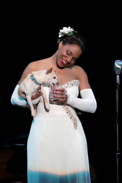"FILE - This file photo provided by Jeffrey Richards Associates shows Audra McDonald as Billie Holiday in ""Lady Day at Emerson's Bar & Grill."" McDonald on Tuesday, April 29, 2014 earned a Tony nomination for ""Lady Day at Emerson's Bar & Grill,"" meaning she is in a position to make history as the Tonys' first grand-slam performance winner. (AP Photo/Jeffrey Richards Associates, Evgenia Eliseeva, File)"