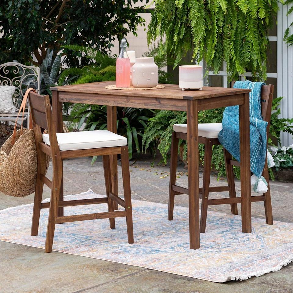 <p>The best part about the <span>Acacia Counter Height Dining Group</span> ($420) is its UV-treated, machine-washable cushion covers - they'll always look brand new!</p>