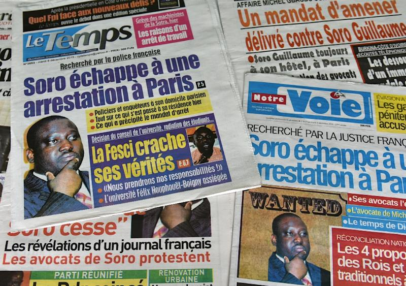 Ivory Coast newspapers in Abidjan run headline news on the arrest warrant issued by a French judge against parliamentary speaker, Guillaume Soro on December 8, 2015