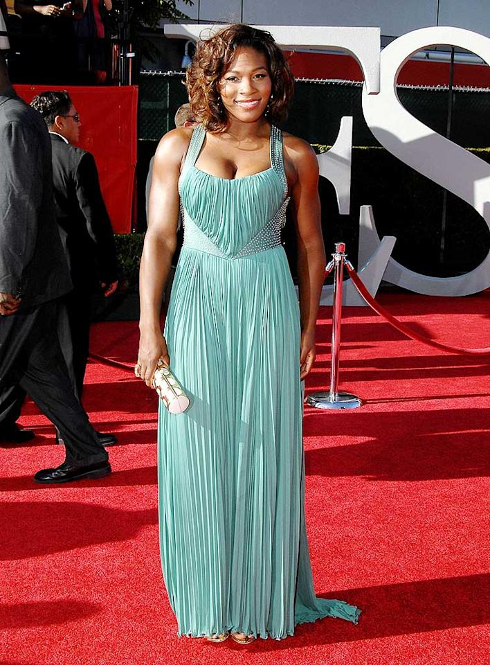 "Following in Venus' footsteps was little sister Serena, who channeled old Hollywood in a glamorous Roberto Cavalli creation. Jon Kopaloff/<a href=""http://www.filmmagic.com/"" target=""new"">FilmMagic.com</a> - July 15, 2009"