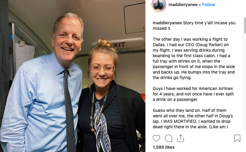 Flight attendant spills whole tray of drinks on airline CEO
