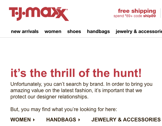 You can't search by brand on T.J. Maxx's website