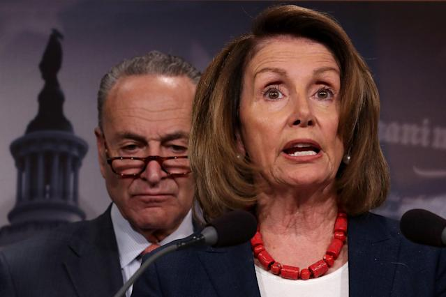 House Minority Leader Nancy Pelosi, D-Calif., and Senate Minority Leader Chuck Schumer, D-N.Y., hold a news conference on Oct. 4. (Photo: Chip Somodevilla/Getty Images)