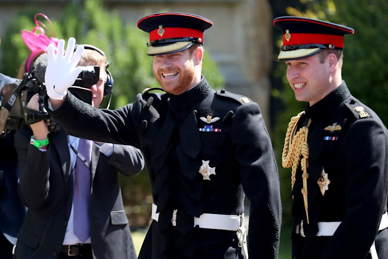 Prince Harry and The Duke of Cambridge arrive at St George's Chapel in Windsor Castle before Prince Harry's wedding to Meghan Markle. (Photo by Jane Barlow/PA Images via Getty Images)