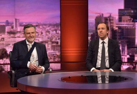 Britain's Secretary of State for Digital, Culture, Media and Sport, Matt Hancock, and Labour Party Shadow International Trade Secretary, Barry Gardiner, appear on the BBC's Marr Show in London