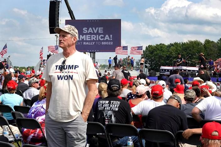 WELLINGTON, OHIO - JUNE 26: Supporters of former President Donald Trump wait for the start of a rally at the Lorain County Fairgrounds on June 26, 2021 in Wellington, Ohio. Trump is in Ohio to campaign for his former White House advisor Max Miller. Miller is challenging incumbent Rep. Anthony Gonzales in the 16th congressional district GOP primary. This is Trump's first rally since leaving office. (Photo by Scott Olson/Getty Images)