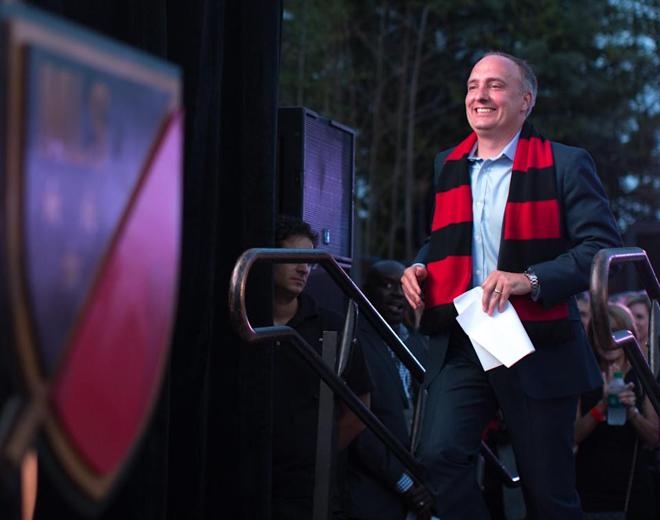 MLS Atlanta President Darren Eales approaches a podium during a party at which Atlanta United FC was announced as the name of an MLS soccer expansion team, Tuesday, July 7, 2015, in Atlanta.The team is scheduled to begin to play in 2017 at the city's new retractable -oof stadium.(AP Photo/Branden Camp)