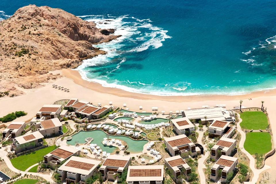 Aerial view of the Montage Los Cabos resort and beach, voted one of the best hotels in the world