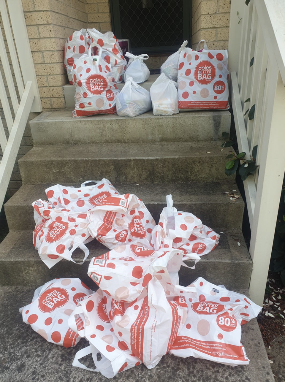 Photo shows 13 bags and only four with groceries inside after they were repacked.