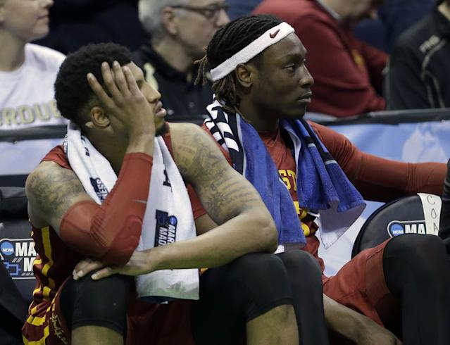 <p>Iowa State's Darrell Bowie (10) and Iowa State's Solomon Young (33) watch the final seconds of the an NCAA college basketball tournament second-round game against Purdue Saturday, March 18, 2017, in Milwaukee. Purdue won 80-76. (AP Photo/Kiichiro Sato) </p>
