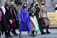 """<ul> <li><strong>What to wear: </strong><a href=""""https://www.popsugar.com/fashion/inauguration-day-outfits-2021-meaning-48123643"""" class=""""link rapid-noclick-resp"""" rel=""""nofollow noopener"""" target=""""_blank"""" data-ylk=""""slk:Vice President Kamala Harris looked vibrant in a purple coat"""">Vice President Kamala Harris looked vibrant in a purple coat</a> and sequined cocktail dress (which showcased emerging Black designers) at the 2021 presidential inauguration. Wear this look yourself by dressing in a purple getup with black heels and a pearl necklace.</li> </ul>"""
