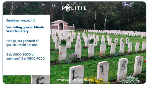 A large swastika along with random letters and words were daubed onto headstones at the Mierlo cemetery in Eindhoven in the southern Netherlands.
