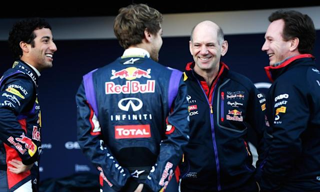"""<span class=""""element-image__caption"""">Adrian Newey, second right, and the Red Bull chief, Christian Horner, right, talk with drivers Sebastian Vettel and Daniel Ricciardo, left, at the launch of the team's 2014 F1 car in Jerez.</span> <span class=""""element-image__credit"""">Photograph: Andrew Hone/Getty Images</span>"""