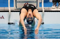 <p>TOKYO, JAPAN - JULY 25: Ali Galyer of Team New Zealand competes in heat two of the Women's 100m Backstroke on day two of the Tokyo 2020 Olympic Games at Tokyo Aquatics Centre on July 25, 2021 in Tokyo, Japan. (Photo by Al Bello/Getty Images)</p>