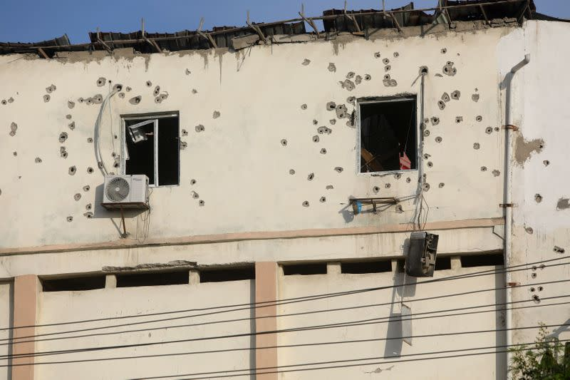 Bullet holes are seen around the windows of the SYL hotel after fighting between Somali security forces and Al Shabaab gunmen, who lunched an attack on the hotel near the presidential residence in Mogadishu