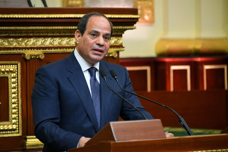 FILE - In this June 2, 2018 file photo provided by Egypt's presidency media office, Egyptian President Abdel-Fattah el-Sissi addresses the chamber after he was sworn in for a second four-year term in Cairo, Egypt. El-Sissi is urging the nation to back his government's efforts to defeat Islamic militants, saying it's the mission of every Egyptian. The Wednesday Aug. 7, 2019, appeal came after a car packed with explosives exploded earlier this week outside Egypt's main cancer hospital in Cairo, killing at least 20 people. (Egyptian Presidency Media office via AP, File)