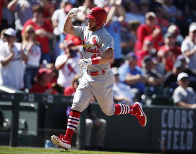 St. Louis Cardinals' Harrison Bader circles the bases after hitting a solo home run off Colorado Rockies relief pitcher Jesus Tinoco in the fourth inning of a baseball game Thursday, Sept. 12, 2019, in Denver. (AP Photo/David Zalubowski)