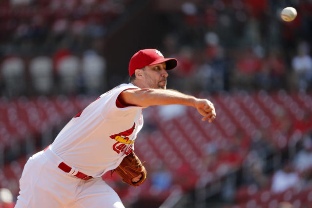 St. Louis Cardinals starting pitcher Adam Wainwright throws during the first inning of a baseball game against the Washington Nationals Wednesday, Sept. 18, 2019, in St. Louis. (AP Photo/Jeff Roberson)