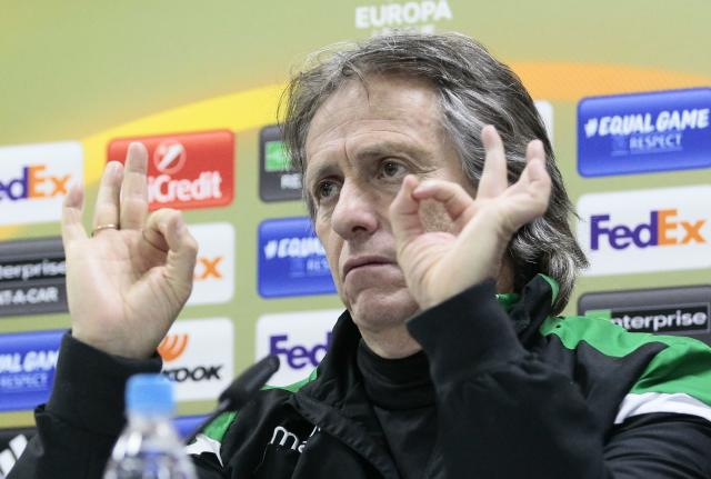 Soccer Football - UEFA Europa League - Sporting CP news conference - Astana Arena, Astana, Kazakhstan - February 14, 2018 Sporting's coach Jorge Jesus attends a news conference ahead of the match against Astana. REUTERS/Alexei Filippov