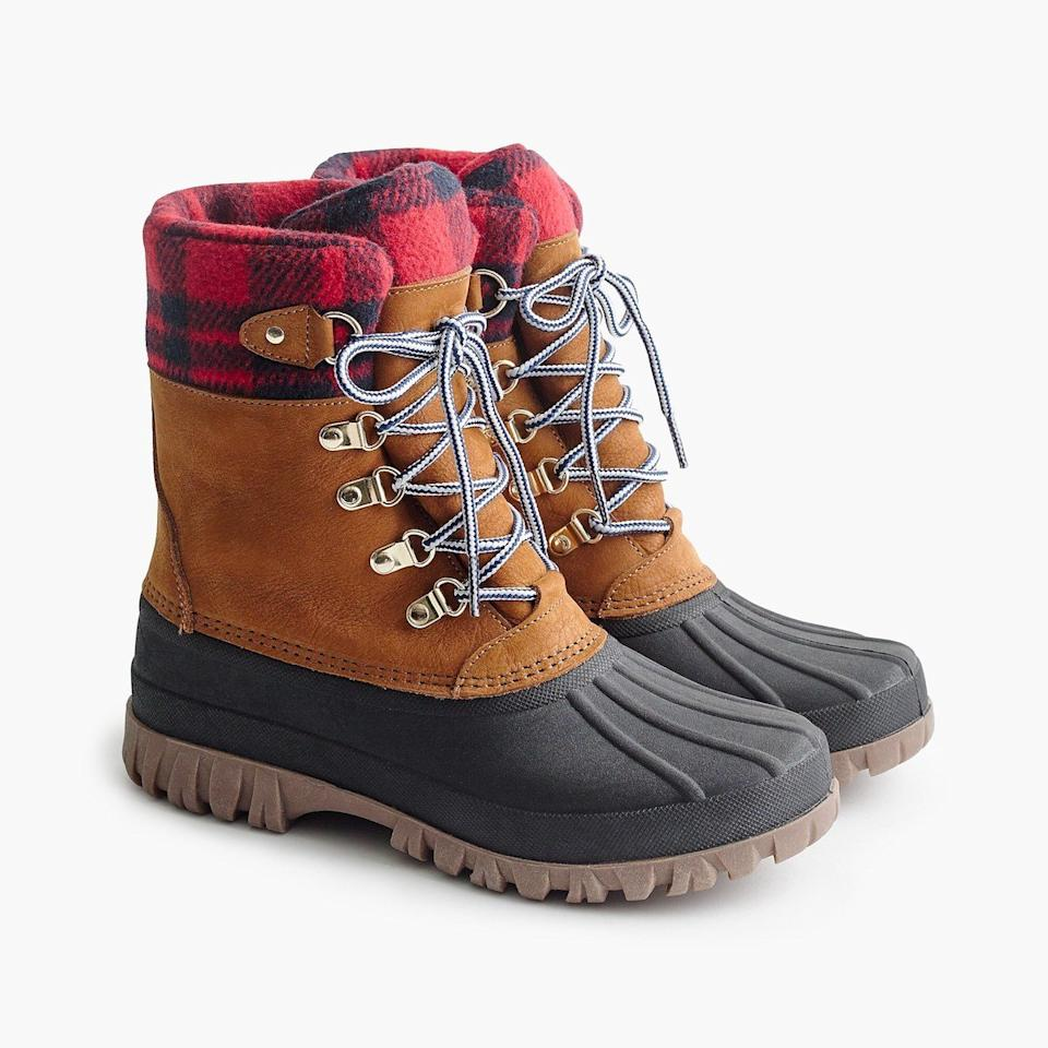 "<p>Still on the hunt for durable-yet-cute winter boots that will help you survive all the upcoming rain, sleet, and snow? We just found them. With a waterproof rubber sole and on-trend plaid cuff, these are snow boots you'll actually be excited to wear. Even better: They're now 40 percent off with code WHYWAIT at checkout. </p> <p><strong>To buy: </strong>$119 (originally $198), <a href=""http://www.anrdoezrs.net/links/7876406/type/dlg/sid/RS%2CTheBestComfortableShoeDealstoSnagThisBlackFridayandCyberMonday%2Ckholdefehr1271%2CSHO%2CIMA%2C636542%2C201911%2CI/https://www.jcrew.com/p/womens_category/shoes/weatherboots/perfect-winter-boots/H1891?"" target=""_blank"">jcrew.com</a>. </p>"