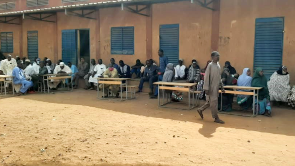 Parents at the school in Niger - Wednesday 14 April 2021