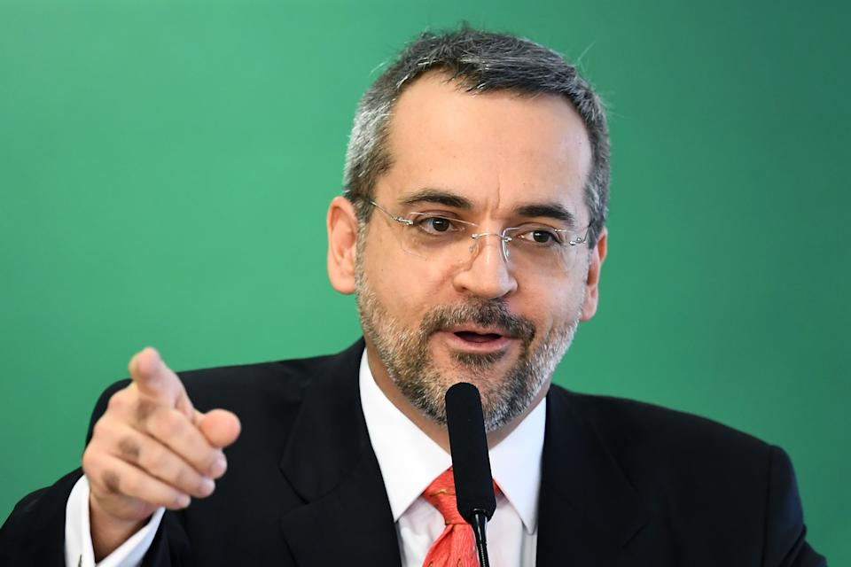 The new Brazilian Education Minister Abraham Weintraub delivers a speech during his appointment ceremony at Planalto Palace in Brasilia, on April 9,  2019. - Weintraub replaces Ricardo Velez, who was fired after three months of management marked by controversy and setbacks. (Photo by EVARISTO SA / AFP)        (Photo credit should read EVARISTO SA/AFP via Getty Images)