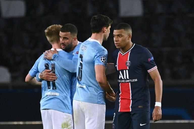 Kylian Mbappe (R) was frustrated by Manchester City on Wednesday but he has saved his best performances for big away games this season