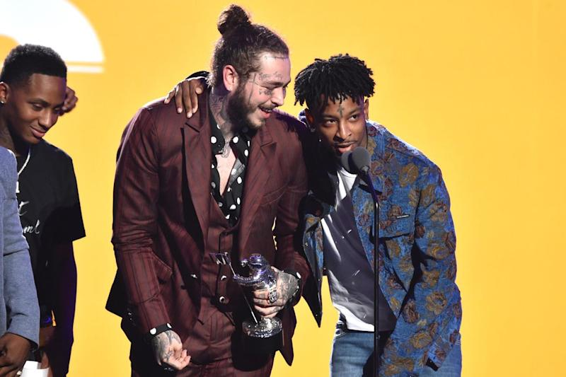 Post Malone (left) and 21 Savage at the 2018 MTV Video Music Awards in August in New York City (John Shearer/Getty)
