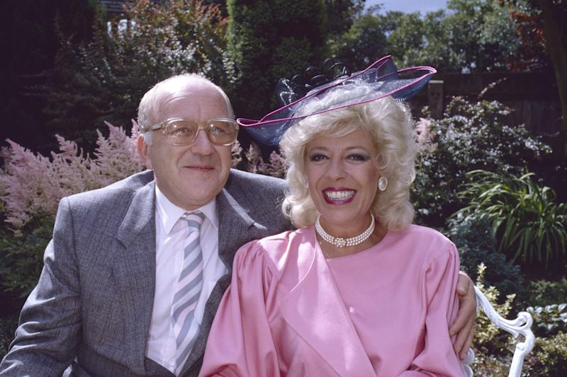 Julie Goodyear as Bet Lynch with Corrie co-star Roy Barraclough