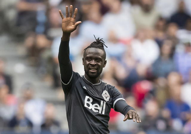 Vancouver Whitecaps' Kei Kamara celebrates his goal against the Chicago Fire during the first half of a Major League Soccer match Saturday, July 7, 2018, in Vancouver, British Columbia. (Darryl Dyck/The Canadian Press via AP)