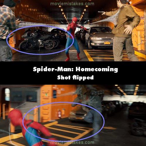 """<p>When Spidey first interrupts the criminals on the ferry, there are 2 motorbikes behind him on the left. When he throws one of the bad guys around with a web, the bikes have moved to the right, along with the yellow markings they were on, showing the shot's been flipped. They then move back. (<a rel=""""nofollow"""" href=""""https://www.moviemistakes.com/"""">MovieMistakes.com</a>) </p>"""