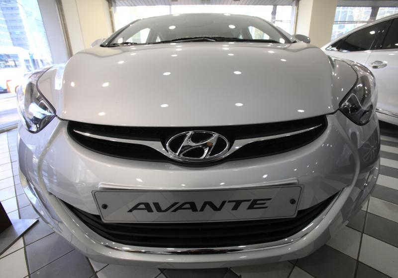 Hyundai Motor Co.'s vehicle Avante is displayed at the South Korean top car maker's showroom in Seoul, South Korea, Thursday, Jan. 27, 2011.  Hyundai Motor says net profit rose 48 percent in the fourth quarter to a record high as sales increased.(AP Photo/Ahn Young-joon)