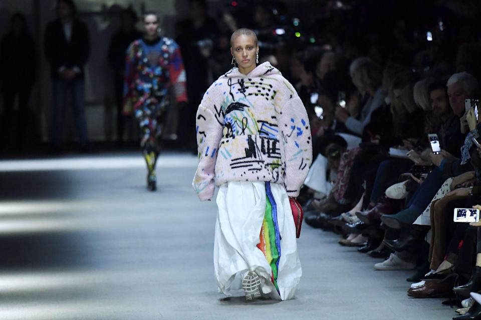 The supermodel turned actress joined the cast of beauties at Christopher Bailey's final show.