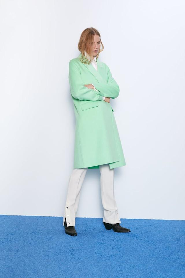"""<p>Coat with flap pockets, £95.99</p><p><a class=""""body-btn-link"""" href=""""https://www.zara.com/uk/en/coat-with-flap-pockets-p04070221.html?v1=18274259&v2=1281618"""" target=""""_blank"""">BUY NOW</a></p><p>Pastel Green? Mint? Toothpaste? Whatever, it's beaut. </p>"""