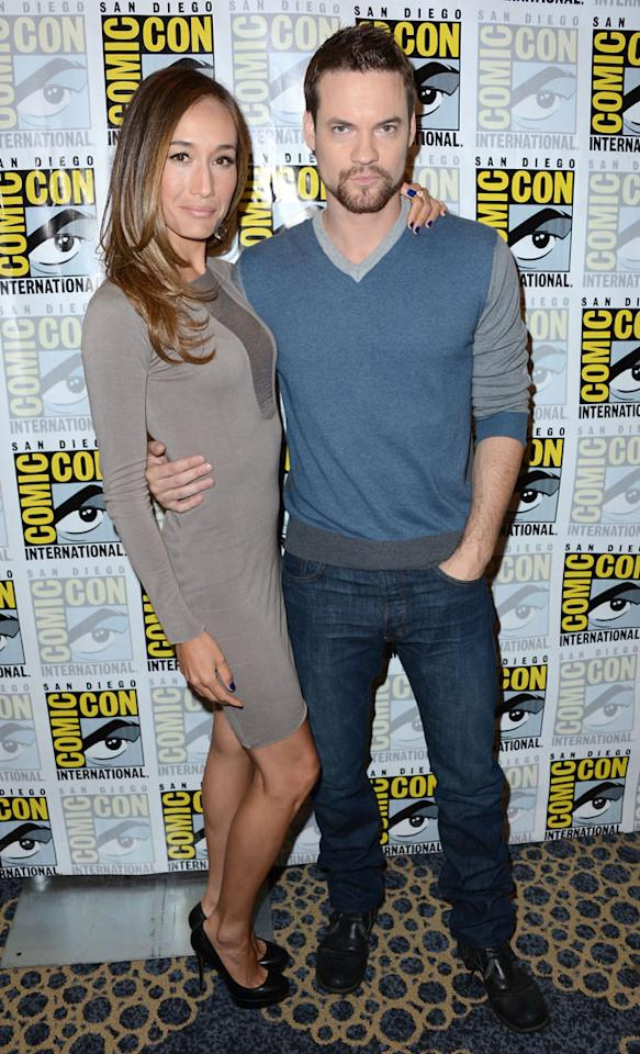 "Maggie Q and Shane West (""Nikita"") at Comic-Con International on July 12, 2012 in San Diego, California."